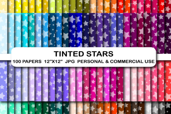 100 Colors Tinted Stars Digital Papers Graphic Backgrounds By bestgraphicsonline