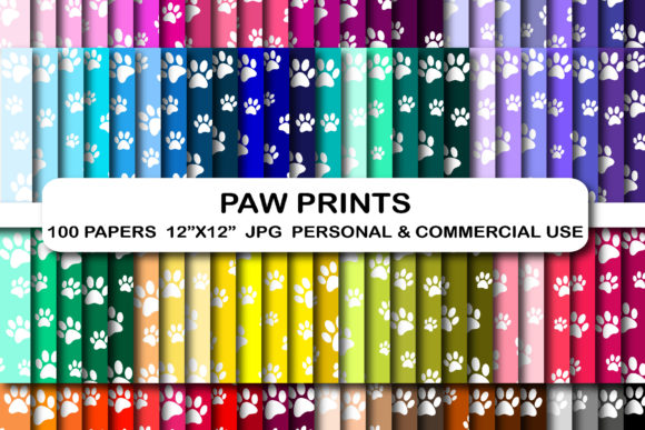 100 Paw Print Digital Patter Papers Set Graphic Backgrounds By bestgraphicsonline