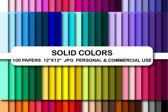 100 Solid Colors Digital Paper Pack Graphic Backgrounds By bestgraphicsonline