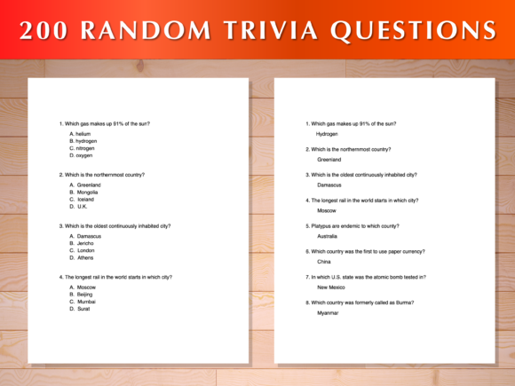 Print on Demand: 200 Random Trivia Questions Graphic Print Templates By AscendPrints
