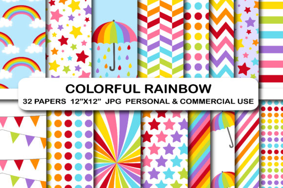 32 Colorful Rainbow Digital Papers Pack Graphic Backgrounds By bestgraphicsonline