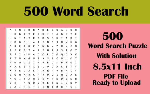 500 Word Search Puzzle 8.5x11 5 File Graphic KDP Interiors By Seven Elephant