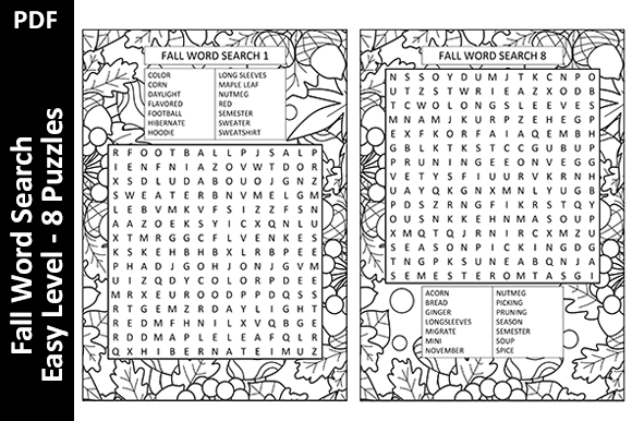 8 Fall Word Search Puzzles - Easy Level Graphic KDP Interiors By Oxyp