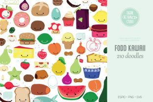 A to Z Food Color Kawaii | Fruit Vegies Graphic Illustrations By Digital_Draw_Studio