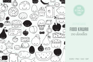 A to Z Food Kawaii | Fruit and Vegetable Graphic Illustrations By Digital_Draw_Studio