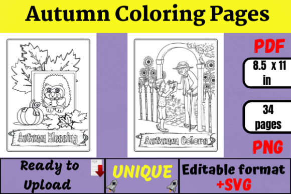 Autumn Coloring Pages ( KDP Interiors ) Graphic Coloring Pages & Books Adults By Wiss_Tips designs