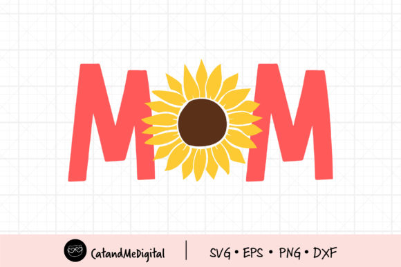 Best Mom with Sunflower Graphic Illustrations By CatAndMe