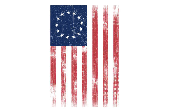 Print on Demand: Betsy Ross Vertical Grunge America Flag Graphic Illustrations By SunandMoon