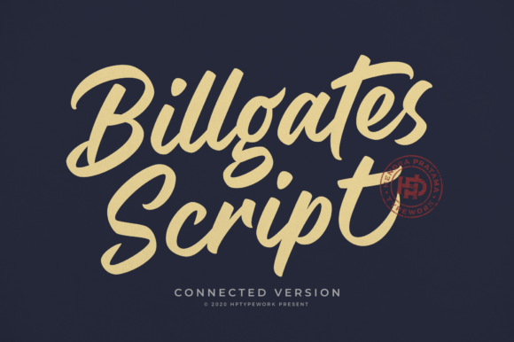 Print on Demand: Billgates Script Script & Handwritten Font By hptypework