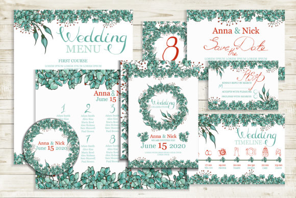 Blue  Wedding Invitation Cards Templates Graphic Print Templates By AstraDesign