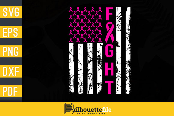 Print on Demand: Breast Cancer Awareness American Flag Graphic Print Templates By Silhouettefile