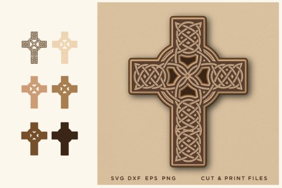 Celtic Cross, Cut File, Multilayer Graphic 3D SVG By 2dooart