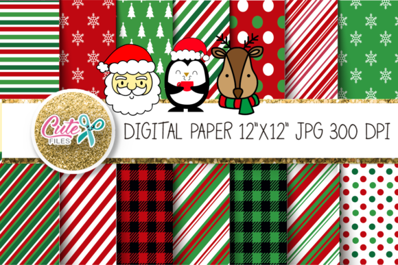 Christmas Striped  & Polka Digital Paper Graphic Textures By Cute files