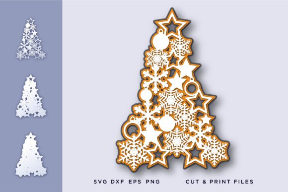 Christmas Tree, Snowflakes 3D Graphic 3D SVG By 2dooart