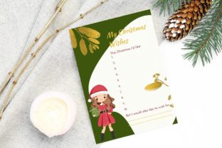 Print on Demand: Christmas Wish List with Cute Girl Graphic Print Templates By anatarouca