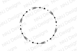 Print on Demand: Circle Arrow Star Wreath SVG Round Frame Graphic Illustrations By NNJ Designs