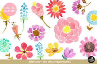 Clip Art Watercolor Flowers Graphic Illustrations By MerryDay
