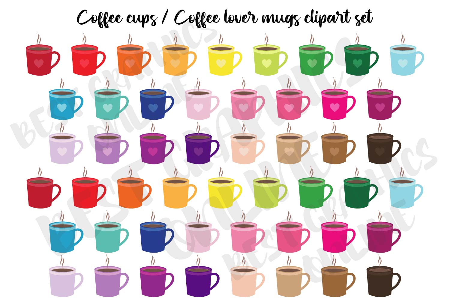 Coffee Lover Mug Coffee Cups Clipart Set Graphic By Bestgraphicsonline Creative Fabrica