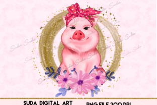 Print on Demand: Cute Pig Pink Design Sublimation Graphic Illustrations By Suda Digital Art