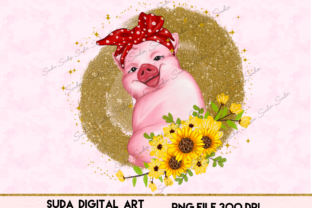 Print on Demand: Cute Pig Pink Funny Design Sublimation Graphic Illustrations By Suda Digital Art