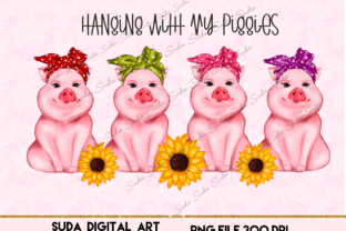 Print on Demand: Cute Pigs Design Sublimation Graphic Illustrations By Suda Digital Art