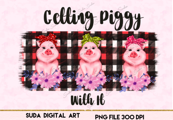 Print on Demand: Cute Pigs Funny Design Sublimation Graphic Illustrations By Suda Digital Art