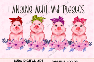 Print on Demand: Cute Pigs with Flowers Graphic Illustrations By Suda Digital Art