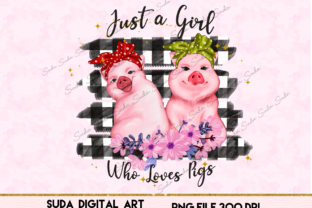 Print on Demand: Cute Pigs with Flowers Sublimation Graphic Illustrations By Suda Digital Art