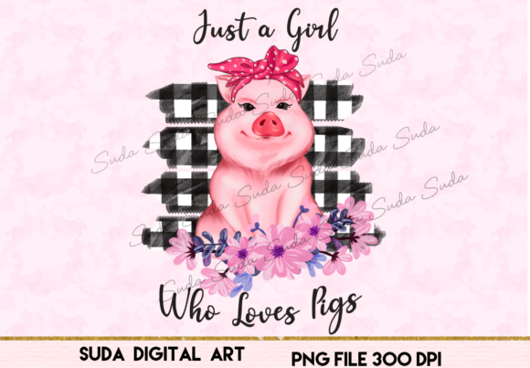 Print on Demand: Cute Pink Pig Sublimation Graphic Illustrations By Suda Digital Art