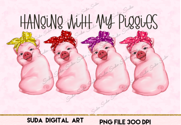 Print on Demand: Cute Pink Pigs Funny Design Sublimation Graphic Illustrations By Suda Digital Art