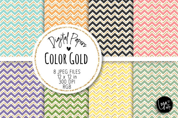 Print on Demand: Dark Chevron with Gold Digital Paper Set Graphic Backgrounds By loyaarts
