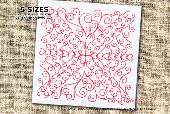 Decorative Pattern Paisley Embroidery Design By Redwork101