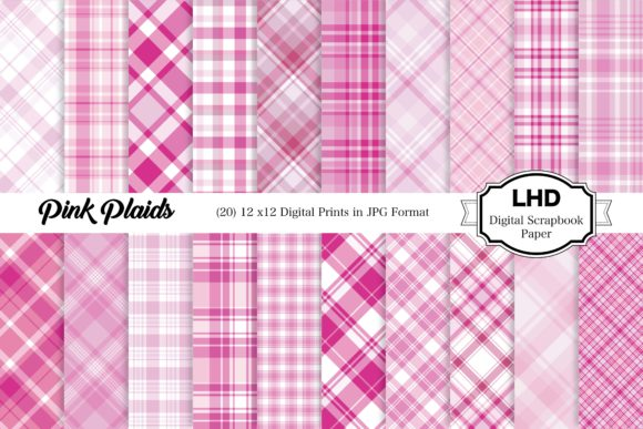 Digital Papers - Pink Plaid Paper Pack Graphic Patterns By LeskaHamatyDesign