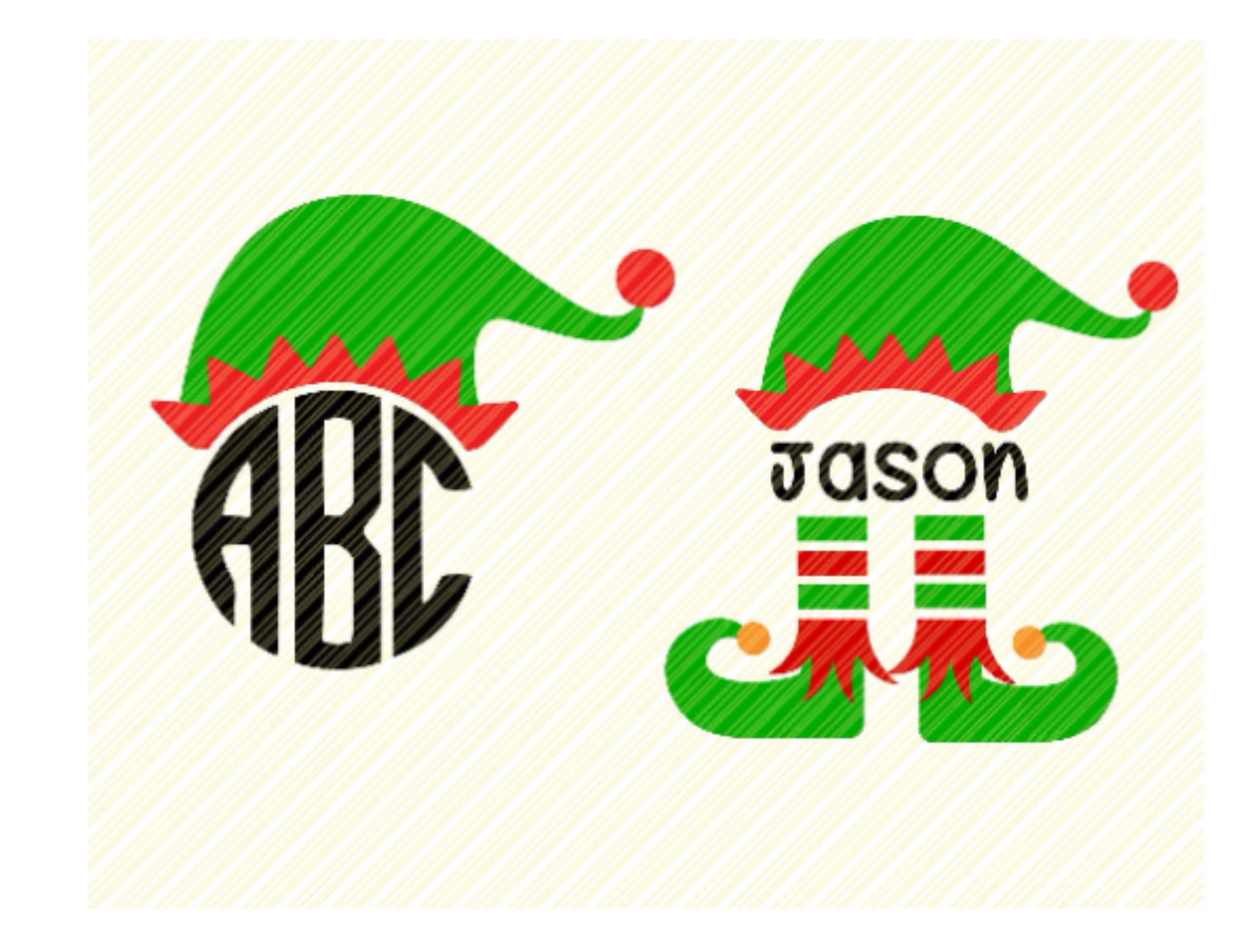 Elf Hat And Boots Monogram Graphic Graphic By Svgplacedesign Creative Fabrica