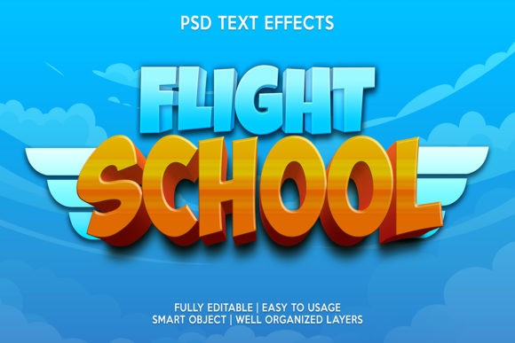 Flight School Text Effect Graphic