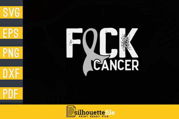 Print on Demand: Fuck Cancer Brain Cancer Awareness Ribbon Graphic Print Templates By Silhouettefile