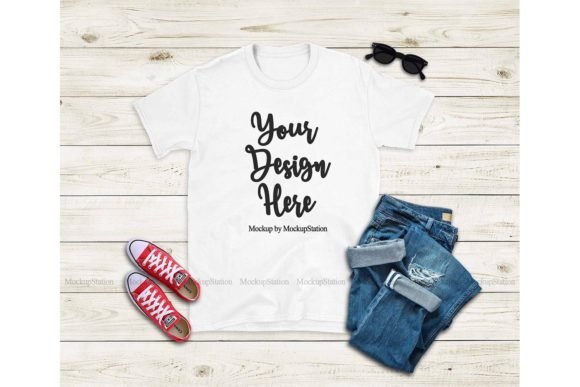 Print on Demand: Gildan 64000 White Tshirt Mockup Graphic Product Mockups By Mockup Station