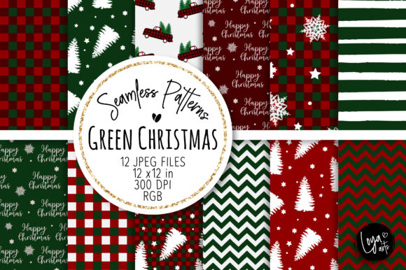 Print on Demand: Green Christmas Seamless Patterns Gráfico Fondos Por loyaarts