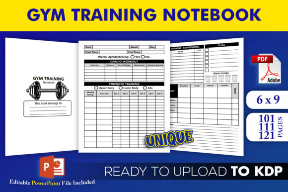 Print on Demand: Gym Training Notebook | KDP Interior Graphic KDP Interiors By Beast Designer