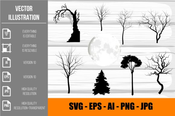 Halloween Silhouettes Dry Trees Clipart Graphic Illustrations By artnovi