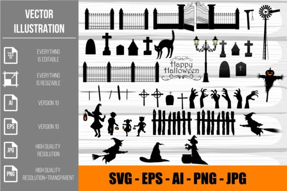 Halloween Silhouettes Elements Clipart Graphic Illustrations By Ka Design