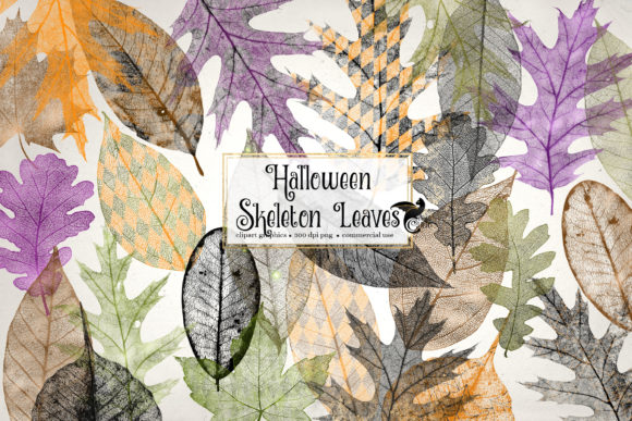 Print on Demand: Halloween Skeleton Leaves Graphic Illustrations By Digital Curio