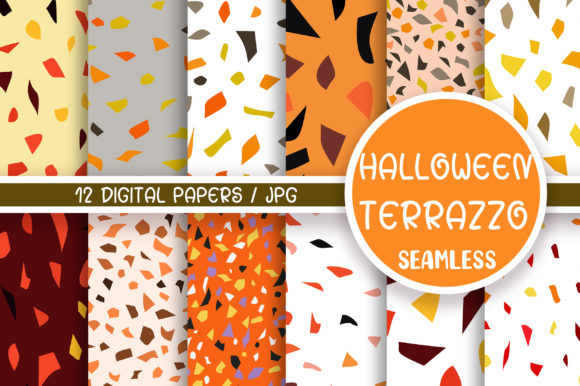 Halloween Terrazzo Seamless Pattern Graphic Patterns By PinkPearly
