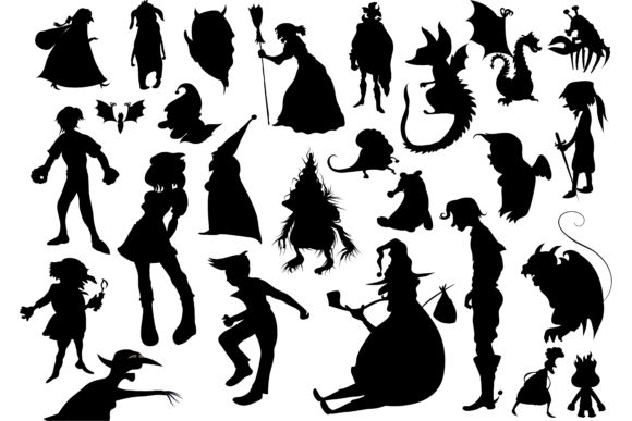 Print on Demand: Halloween Elf Monster Silhouette Graphic Illustrations By BOdesign