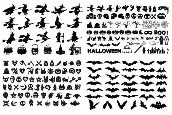 Print on Demand: Halloween Witches and Items Silhouette Graphic Illustrations By BOdesign