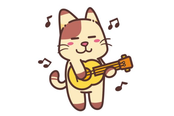 Happy Brown Cat Play Classical Guitar Graphic Illustrations By Ardwork
