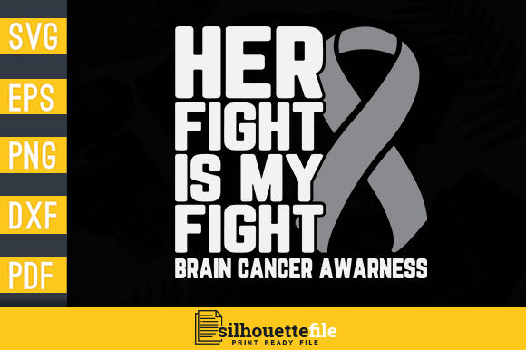 Print on Demand: Her Fight is My Fight Grey Ribbon Graphic Print Templates By Silhouettefile