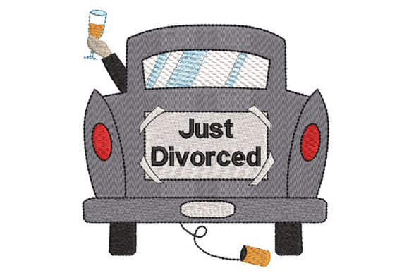 Print on Demand: Just Divorced, Ironic Family Quotes Embroidery Design By Embroidery Shelter