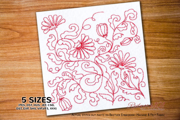 Lawn Ornamental Flowers Paisley Embroidery Design By Redwork101