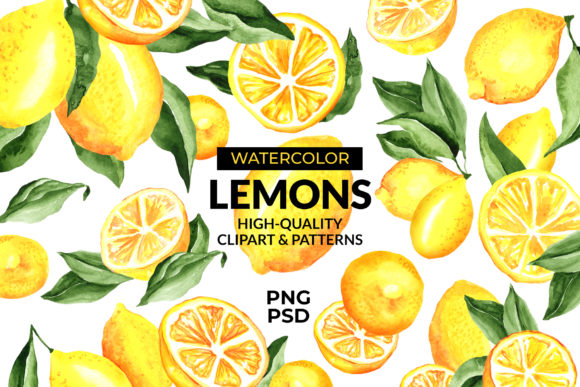 Lemon Watercolor Clipart & Patterns Graphic Illustrations By ilonitta.r
